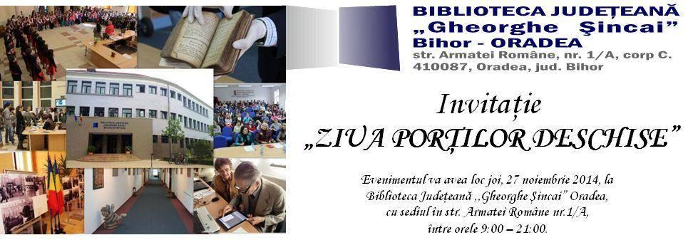 Ziua porţilor deschise la Biblioteca Judeţeană Gheorghe Şincai Bihor, noiembrie 2014 #1