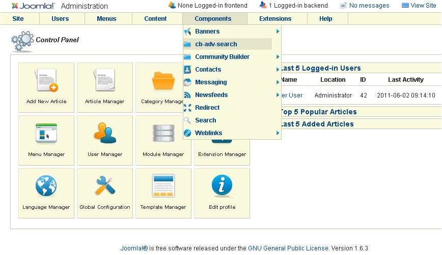 Joomla Community Builder Advanced Search component access